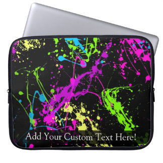 Personalized Black/Neon Splatter Laptop Computer Sleeves