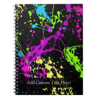 Personalized Black/Neon Splatter Notebooks