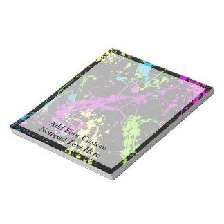 Personalized Black/Neon Splatter Notepad