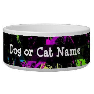 Personalized Black/Neon Splatter Pet Bowls