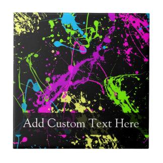 Personalized Black/Neon Splatter Small Square Tile