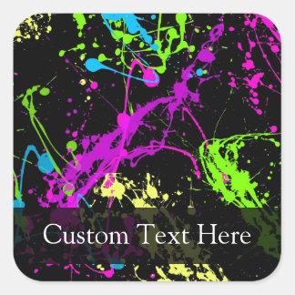 Personalized Black/Neon Splatter Square Sticker