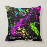 Personalized Black/Neon Splatter Throw Pillow