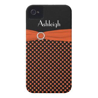 Personalized Black, Orange Polka Dot iPhone 4 Case