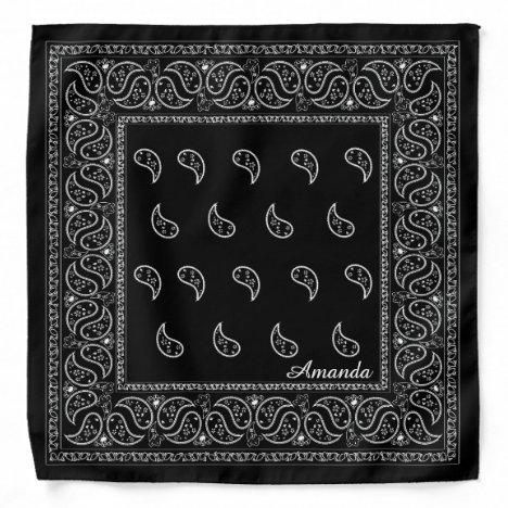 Personalized black paisley bandana, edit name bandana