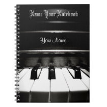 Personalized Black Piano Music Notebook