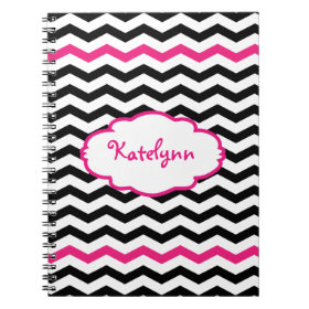 Personalized Black Pink Chevron Spiral Notebook