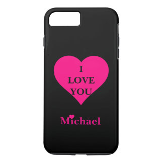 Personalized Black & Pink Heart I Love You iPhone 8 Plus/7 Plus Case