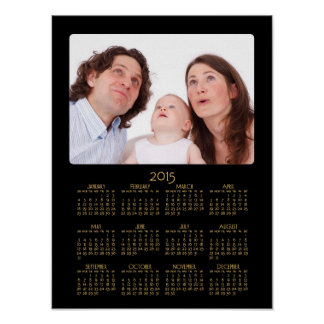 Personalized Black Poster Yearly Calendar 2015