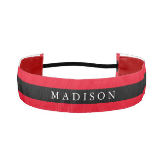 Personalized Black Red Non Slip Headband for Girls
