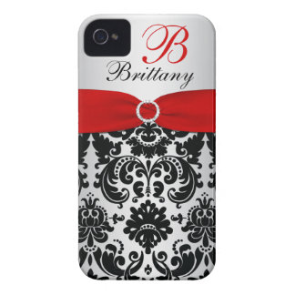 Personalized Black Red Silver Damask iPhone 4 iPhone 4 Cases
