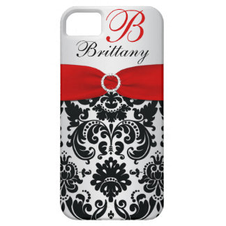 Personalized Black Red Silver Damask iPhone 5 iPhone 5 Cases