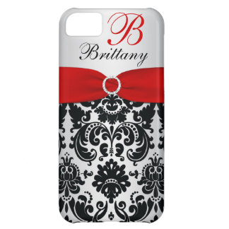 Personalized Black Red Silver Damask iPhone 5 Cover For iPhone 5C