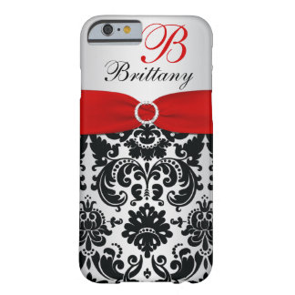 Personalized Black, Red, Silver Damask iPhone 6 ca Barely There iPhone 6 Case