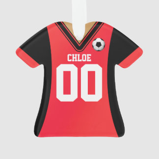 Personalized Black/Red Soccer Jersey Ornament