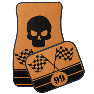 Personalized Black Skull Racing Flags Stripes Car Mat