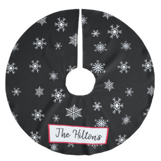 Personalized Black Snowflake Christmas Skirt Brushed Polyester Tree Skirt
