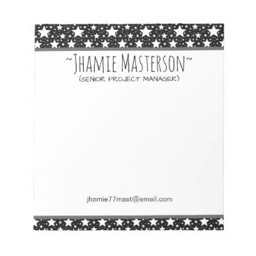 Professional Business Personalized Black Stars Notepad