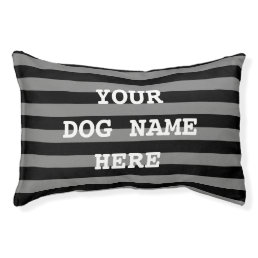Personalized black stripe pattern dog bed