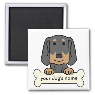 Personalized Black & Tan Coonhound 2 Inch Square Magnet