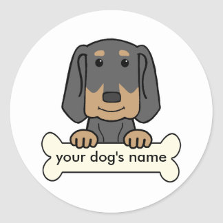 Personalized Black & Tan Coonhound Classic Round Sticker