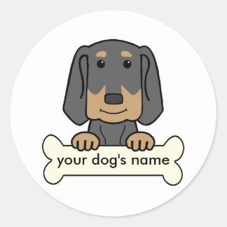 Personalized Black & Tan Coonhound Round Sticker