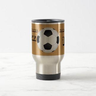 Personalized Black Text Soccer Tumbler Travel Mug