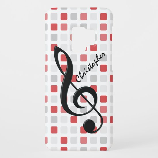 Personalized Black Treble Clef on Red Gray Mosaic Case-Mate Samsung Galaxy S9 Case