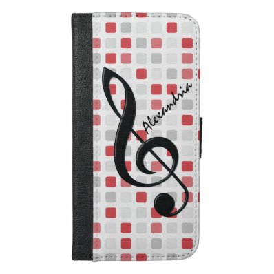 Personalized Black Treble Clef on Red Gray Mosaic iPhone 6/6S Plus Wallet Case
