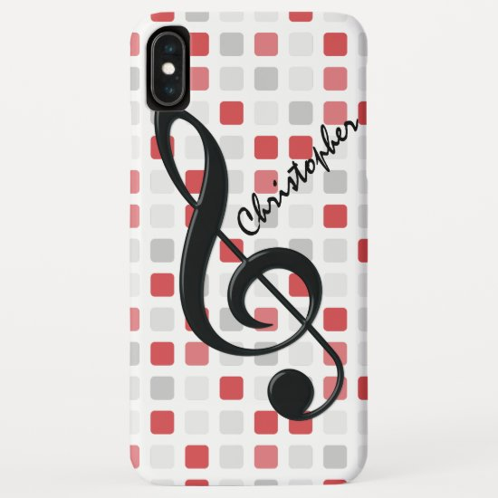 Personalized Black Treble Clef on Red Gray Mosaic iPhone XS Max Case