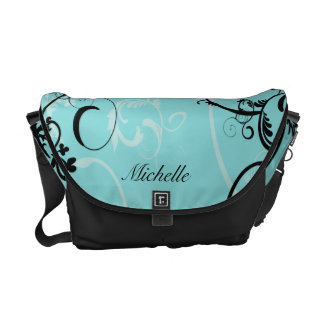 Personalized Black Turquoise Floral Messenger Bag