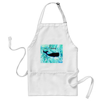personalized black underwater whale adult apron