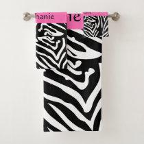 Personalized Black, White and Hot Pink Zebra Print Bath Towel Set