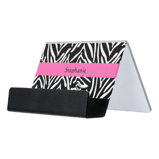Personalized Black, White and Hot Pink Zebra Print Desk Business Card Holder
