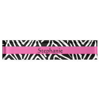 Personalized Black, White and Hot Pink Zebra Print Desk Name Plate