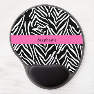 Personalized Black, White and Hot Pink Zebra Print Gel Mouse Pad