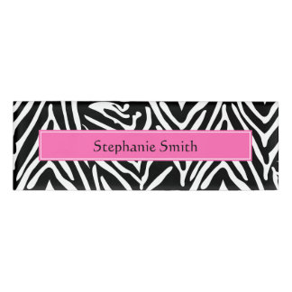 Personalized Black, White and Hot Pink Zebra Print Name Tag