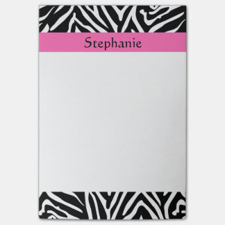 Personalized Black, White and Hot Pink Zebra Print Post-it® Notes