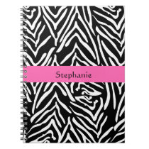 Personalized Black, White and Hot Pink Zebra Print Spiral Notebook