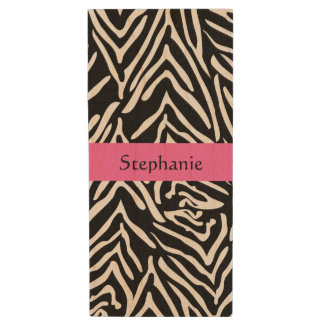Personalized Black, White and Hot Pink Zebra Print Wood USB Flash Drive