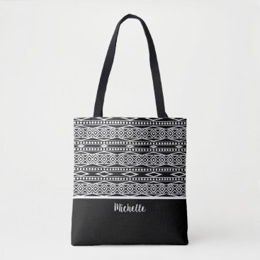 Aztec Themed Personalized | Black White Aztec Tribal Pattern Tote Bag