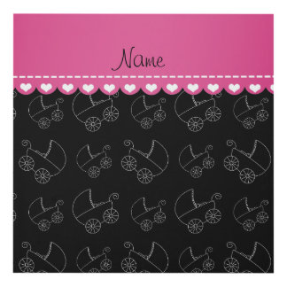 Personalized black white baby carriages panel wall art