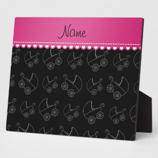 Personalized black white baby carriages photo plaques