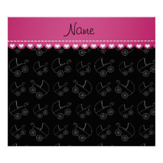Personalized black white baby carriages poster
