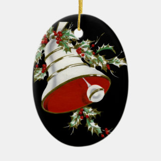 Personalized Black, White Bell Christmas Ornament