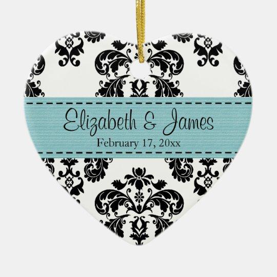 Personalized Black White Blue Damask Wedding Favor Ceramic Ornament