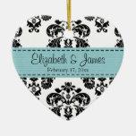 Personalized Black White Blue Damask Wedding Favor Ornament