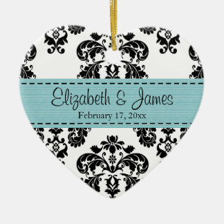 Personalized Black White Blue Damask Wedding Favor Double-Sided Heart Ceramic Christmas Ornament