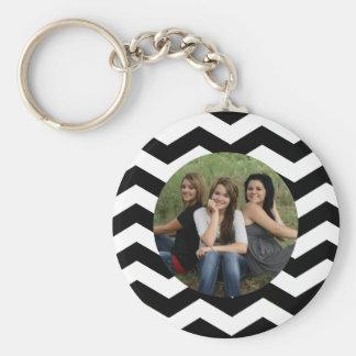 Personalized Black & White Chevron Photo Keychain