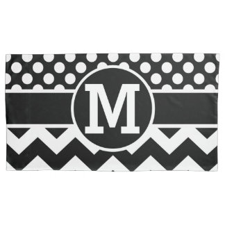 Personalized Black White Chevron Polka Dots Pillow Case